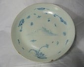 Antique plate in pale blue over 75 years old - Vintage decorative plate