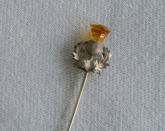Vintage silver Pickle fork - Adie and Lovekin, UK 1880 - 1910 - citrine thistle top