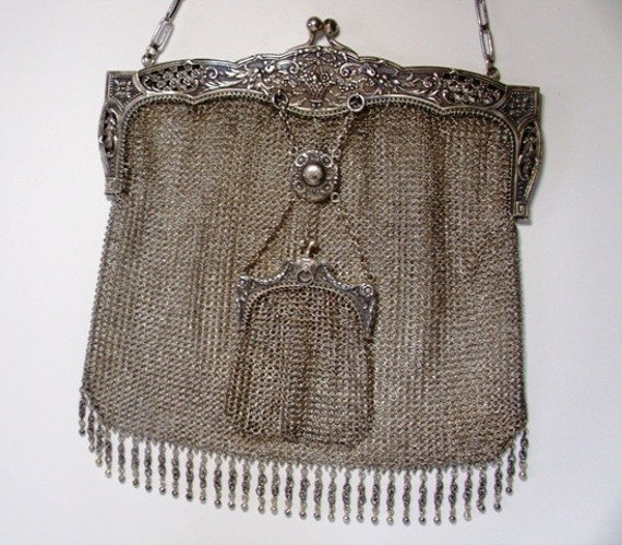 Vintage Silver evening purse with money pouch Extremely Rare late C19th  Vintage Silver -