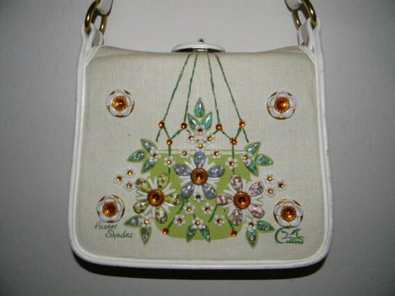 Vintage handbag -  Enid Collins of Texas Beaded Handbag - Pastel Shades