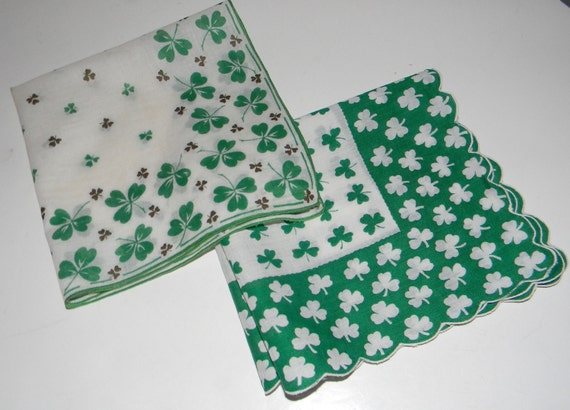 Vintage cotton hankies set of two, pair of handkerchiefs - Irish cotton - clover pattern, green and white