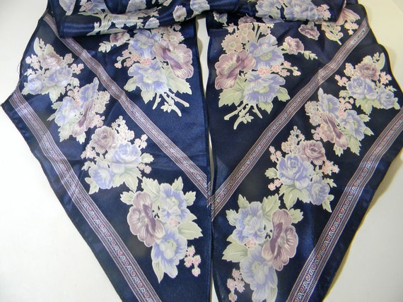 Vintage  silk scarf - Blues and floral - neck tie scarf or hair scarf
