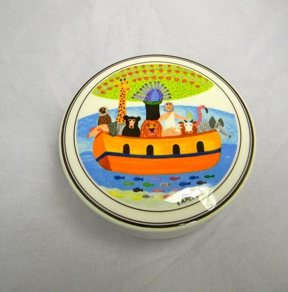 Vintage Villeroy and Boch trinket box, pin box, Design Naif, Noahs Ark - signed Laplau