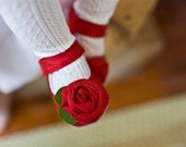 Little Girls Roses are Red Silk Rosette Mary Jane Booties