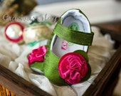 Garnet and Emerald Mary Jane - Holiday Christmas Baby and Toddler Girl Shoes