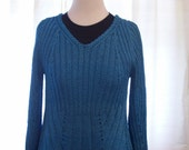 Hand Knit Blue Pullover Sweater