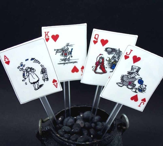 TOPPERS Queen of HEARTS, cake or cupcake toppers, set 8 .... alice in wonderland ..... 40 percent off -- discount already applied