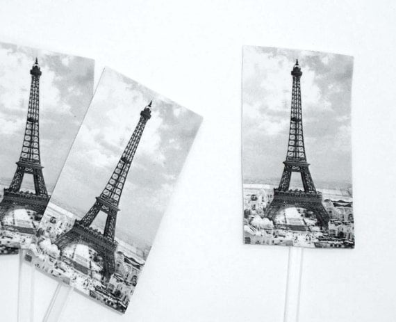 eiffel tower cake or cupcake toppers 6pc reusable