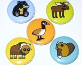 1 Inch Magnet Set - Beaver, Moose, Canada Goose, Black Bear, and Musk Ox (Canada Set)