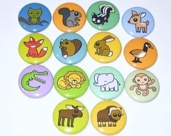 Animals - 1 Inch Button Set (pick any 5 designs)