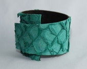 Teal Fish Leather Cuff with Brown Leather Backing and Adjustable Closure--Free Domestic Shipping (F008)
