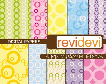 Digital papers pastel colors, commercial use background scrapbooking pattern paper - Printable Designer Papers / Simply Pastel Ring