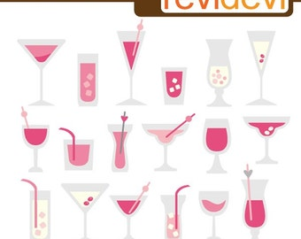 Clipart Valentine Drinks 08089.. Commercial Use Digital Clip art