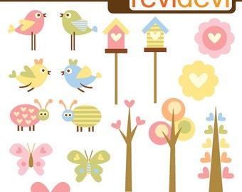 Valentine clipart, birds, bird house, trees - Love is in the air - Valentine's day clip art commercial use