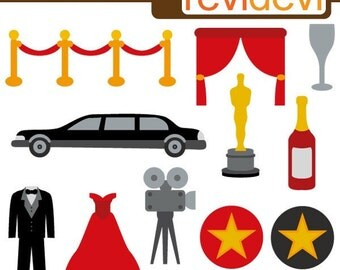 Hollywood red carpet party (red, black) Clipart - Hollywood Award, movie night - digital download