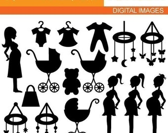 Mom To Be Silhouette - Digital Images - Chic Clip art for Commercial Use