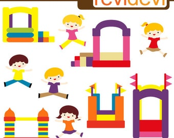Bounce house party clipart - digital images - commercial use