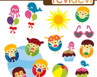 Pool party clipart / summer clip art commercial use / kids, swimming pool, sun / digital images, instant download