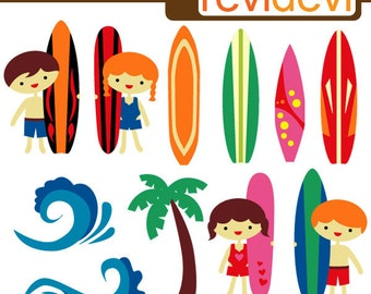 Kids with surfing boards clip art - wave, beach, summer clip art - Ready To Surf Cliparts - instant download