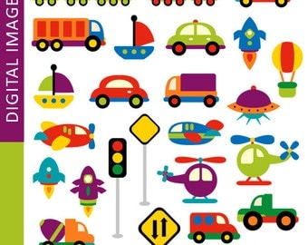 Transportation clip art - Awesome Transportation - land, water, air transportation - Digital Images - commercial use clipart