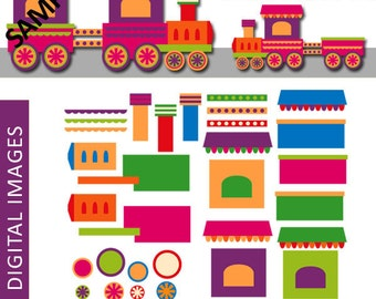 DIY chou chou train clipart generator kit / Build Your Own Choo Choo Train / transportation clipart commercial use
