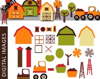 Build your own farm - Mix and match digital clipart - Build your little farm clip art digitals - instant download