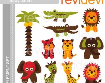 Animals cliparts. Elephant, lion, crocodile, giraffe. Instant download. E002