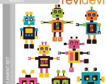 Robots clipart - robot vibant colors - digital clipart - instant download - robot digital images - commercial use