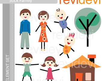 Stick family clipart - cute family clip art - Parents and kids clipart - instant download