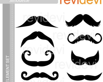 Silhouette mustache clip arts, digital images, Clipart Commercial use - instant download
