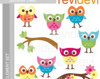 Summer owls clipart - cute owl clip art - digital images - instant download