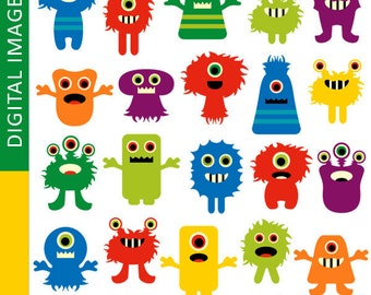 MONSTER clipart / Awesome monsters.. commercial use cliparts / Cute colorful monsters