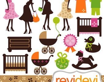 Spring Mom To Be Clipart 07380.. Commercial use digital graphic clip art