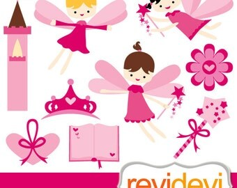 Pink fairy clipart - Flying fairies digital clip art - fairytale clipart - digital images - instant download