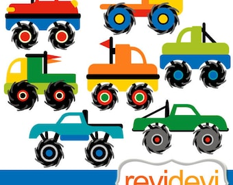 Monster TRUCKS clip art digital / Cool Monster Truck Cliparts - commercial use