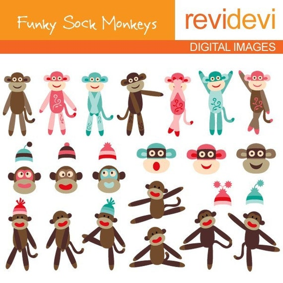 Special price.. FUNKY SOCK MONKEYS 07056 - DIGITAL IMAGES - Kawaii cute fun whimsical modern set for personal and commercial use. Graphic design by Revidevi