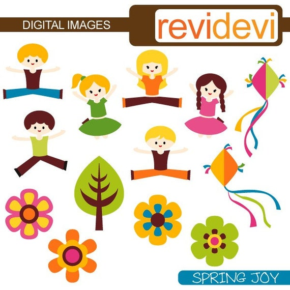 Spring clipart - Happy Kids jumping clipart - Spring Joy - Digital Images - Commercial Use Clip art