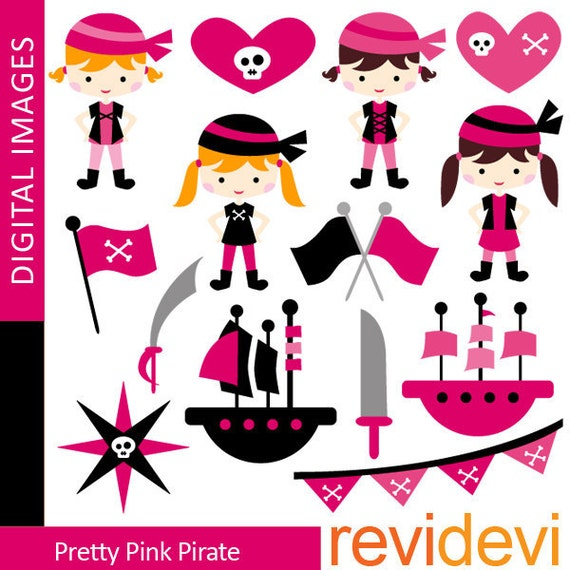 girl pirate clipart pretty pink black pirate clip art rh etsy com pirate flag clip art Pirate Ship Clip Art