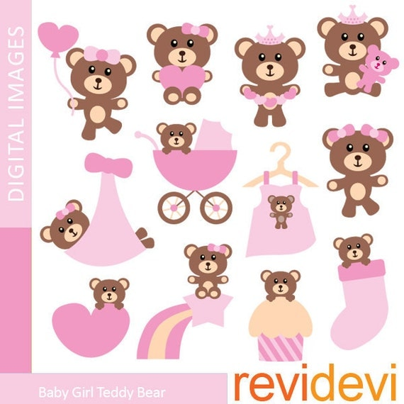 Cute Pink Brown Teddy Bear Clipart Baby Girl Teddy Bear clip