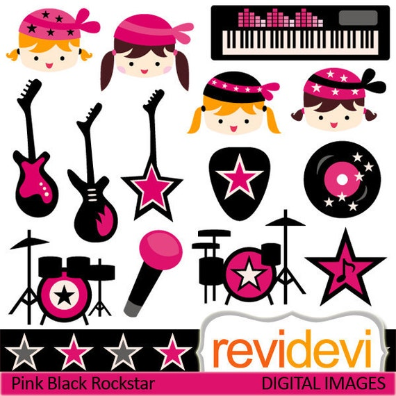 Girl ROCKSTAR cliparts / Pink Black Rockstar 07379.. digital clipart.. girls, electric guitars, keyboard, drum clip art