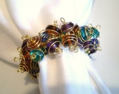 Jeweltoned Glass and Gold Wire Napkin Rings Set of 4