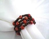 Brown Berries--Wooden bead napkin rings Set of 4
