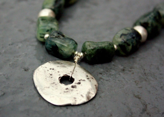 Prehnite Necklace with Silver Ceramic Pendant