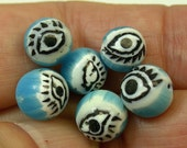 Vintage Glass EYE Beads Venetian MILLEFIORI Turquoise  8.5mm Pkg 6 eye5