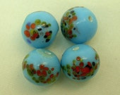 Vintage MILLEFIORI GLASS BEADS Japanese blue  9mm pkg 4 gl641