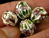 Vintage CLOISONNE Beads CHINESE White FACETED 13mm pkg4 cl77