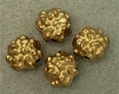 Vintage Lucite Beads  GERMAN Retro GOLD 11mm pkg4  res414