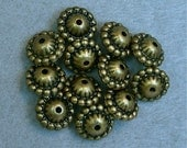 VINTAGE Lucite Beads Abacus ANTIQUE GOLD Steampunk 12mm pkg12 res349