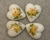 Vintage Porcelain Cabochons Japanese White HEART TENSHA Yellow Rose 10mm  pkg4 por204