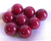 Vintage DYED RED CHALCEDONY Stone Beads 10mm pkg 8 rb2
